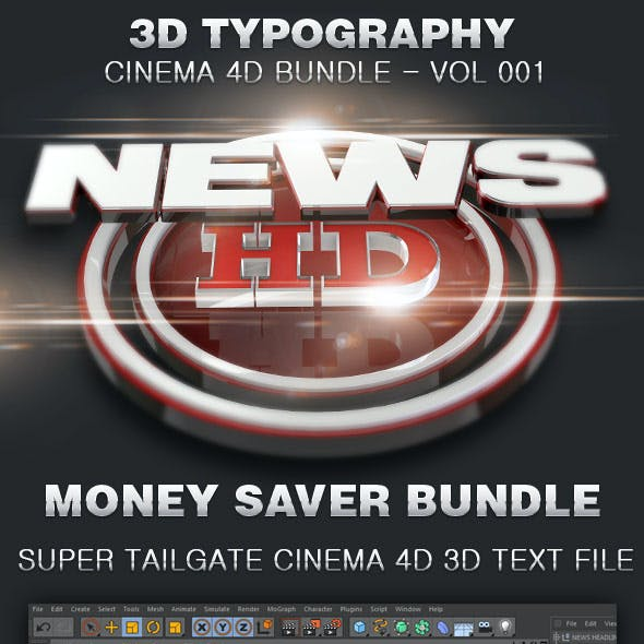 3D Typography Cinema 4D Bundle-Vol 002