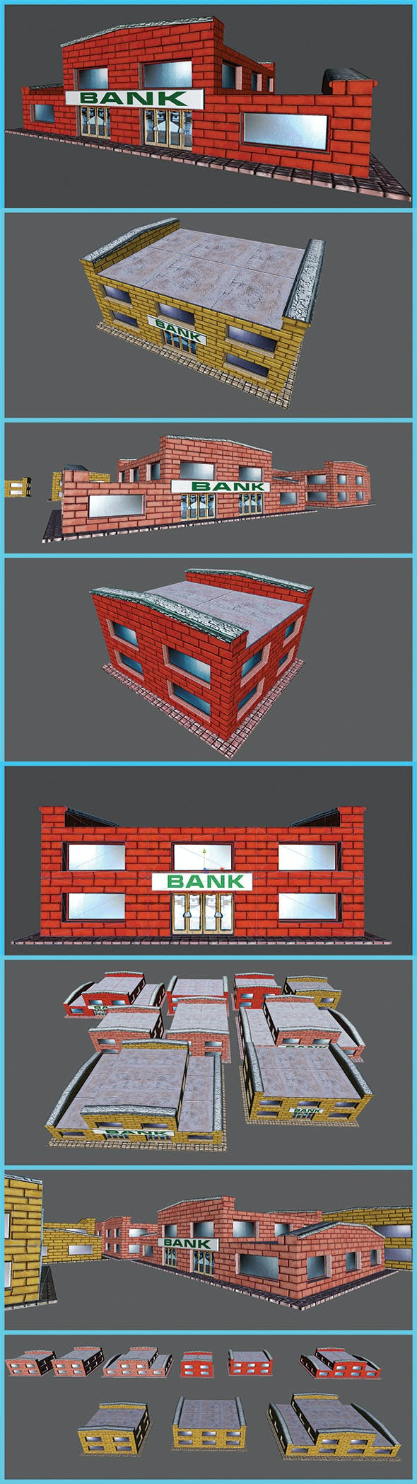 Toon Textured Small Bank Building - 3DOcean Item for Sale