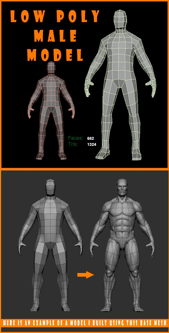 Low Poly Male Model - 3DOcean Item for Sale