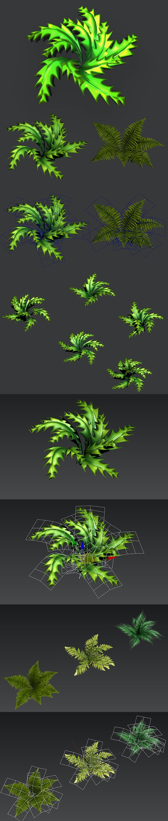 Toon and Realistic Fern Shrubs - 3DOcean Item for Sale