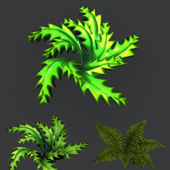 Toon and Realistic Fern Shrubs