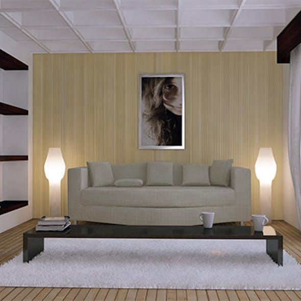 Living Room Render Setups & Scene. (Vray)
