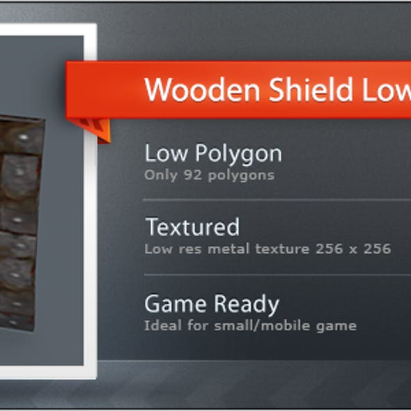 Wooden Shield Low Poly L4