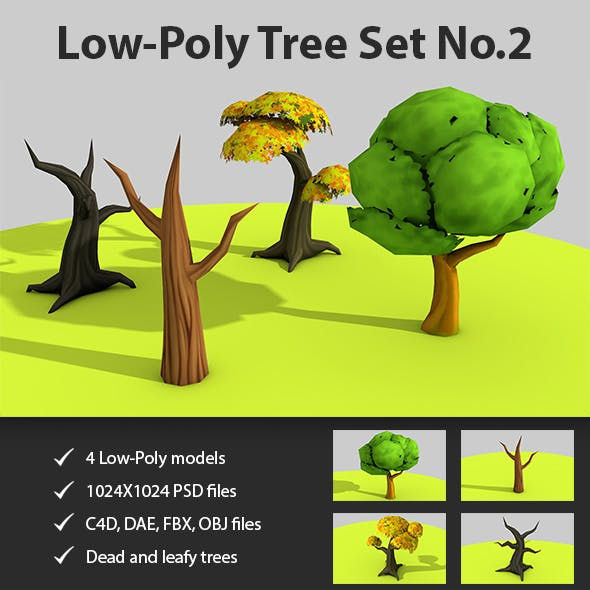 Low Poly Tree set No.2 - 3DOcean Item for Sale