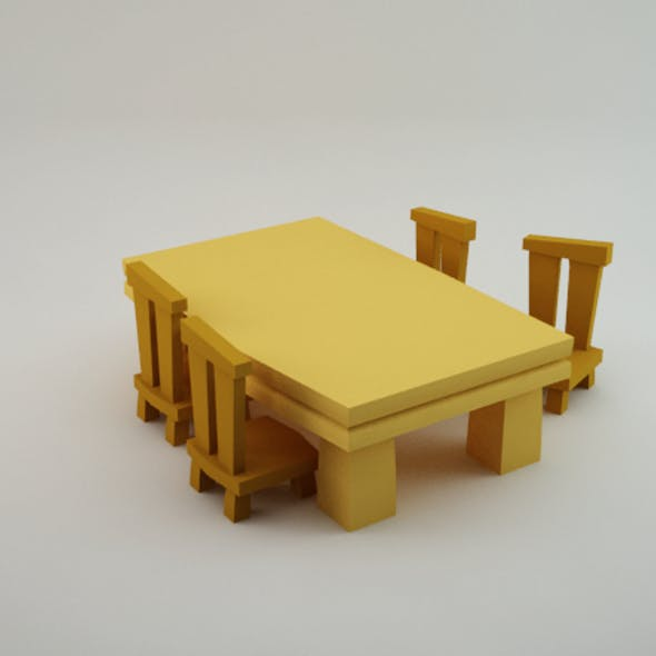Table and Chairs Lowpoly
