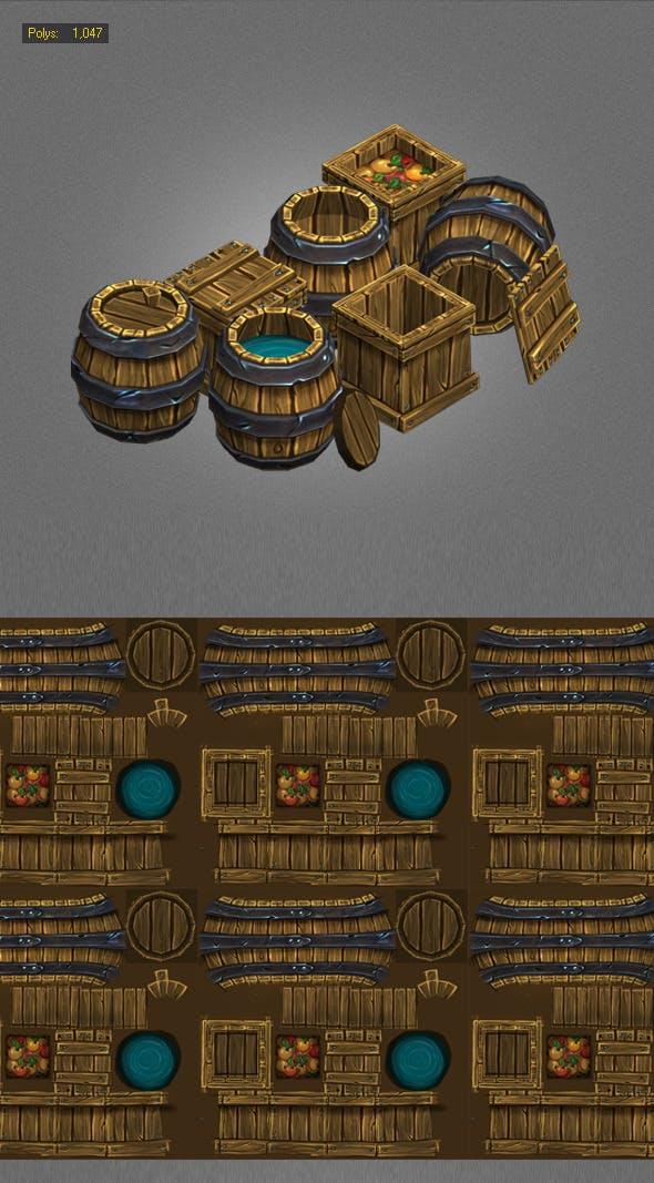 Wood Box , Barrels Lowpoly - 3DOcean Item for Sale