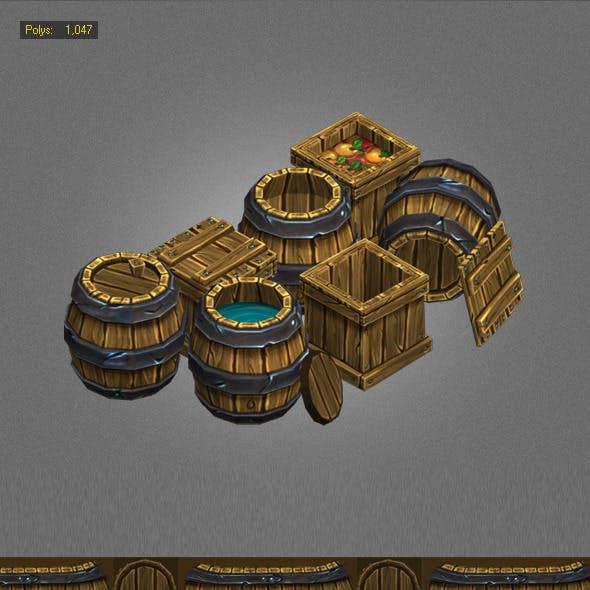 Wood Box , Barrels Lowpoly