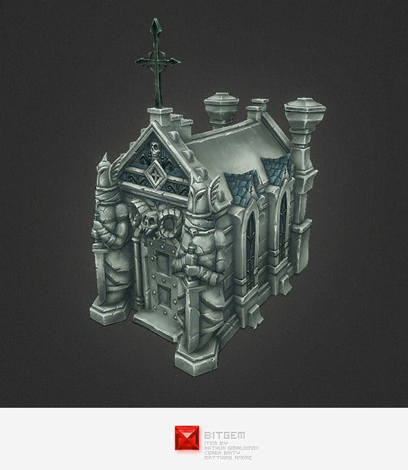 Low Poly Cemetery Crypt Set - 3DOcean Item for Sale