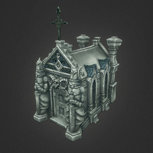 Low Poly Cemetery Crypt Set