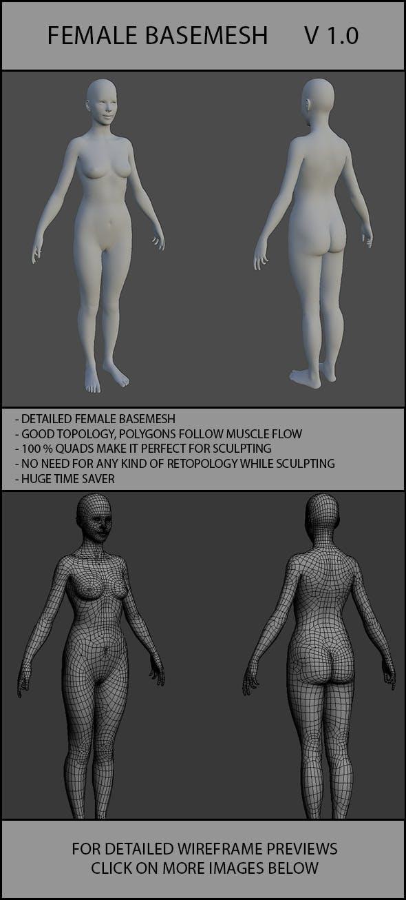 Female Basemesh V 1.0 - 3DOcean Item for Sale
