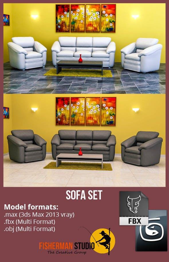Sofa Set with Render Setup - 3DOcean Item for Sale