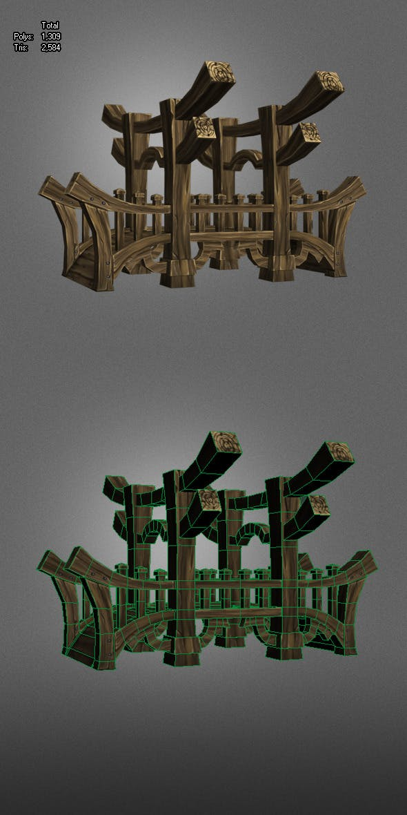 Wooden Bridge Low Poly - 3DOcean Item for Sale
