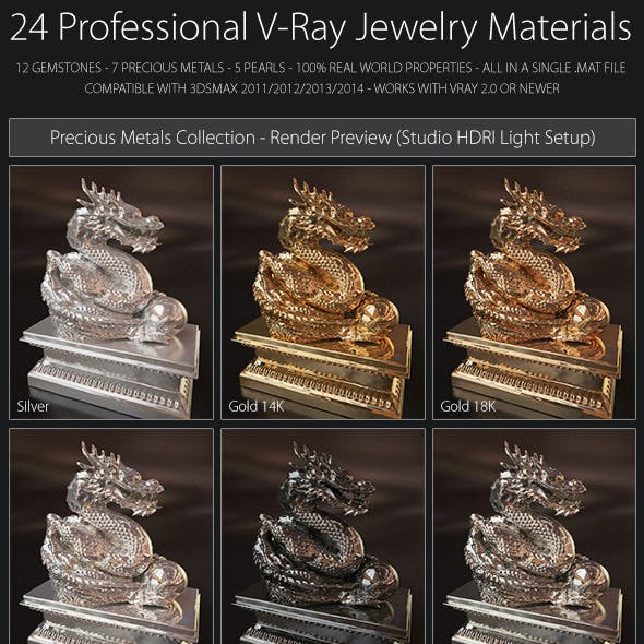 24 Professional V-Ray Jewelry Materials