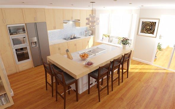 Interior / Living / Kitchen / Dining - 3DOcean Item for Sale