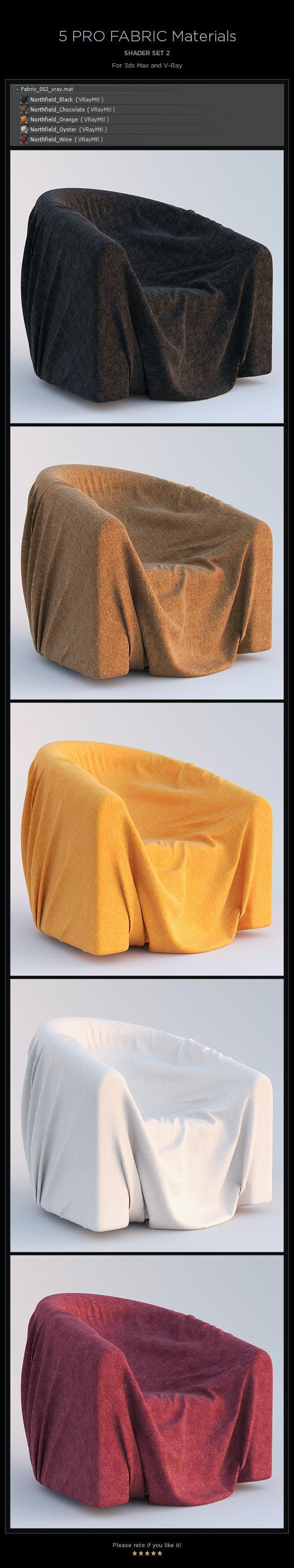5 Pro Fabric Materials - set 2 - 3DOcean Item for Sale