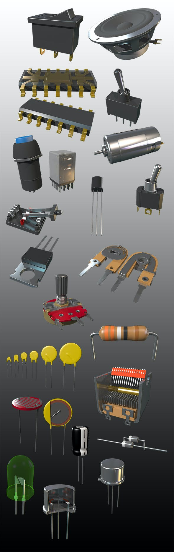 Bunch of Electrical Parts (PACK) - 3DOcean Item for Sale