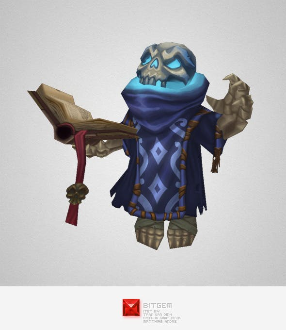 Low Poly Skeleton Mage - 3DOcean Item for Sale