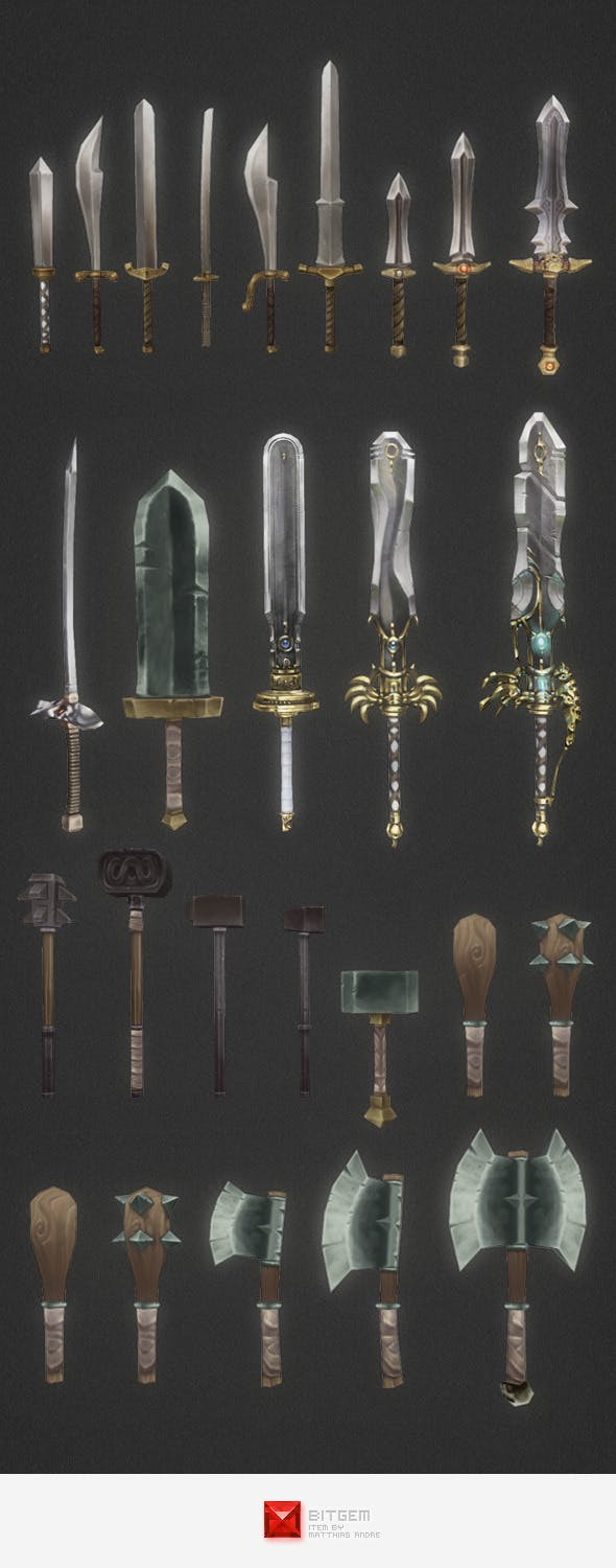 Low Poly Modular Melee Weapon Set - 3DOcean Item for Sale