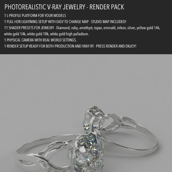Photorealistic Jewelry Render Pack for V-Ray
