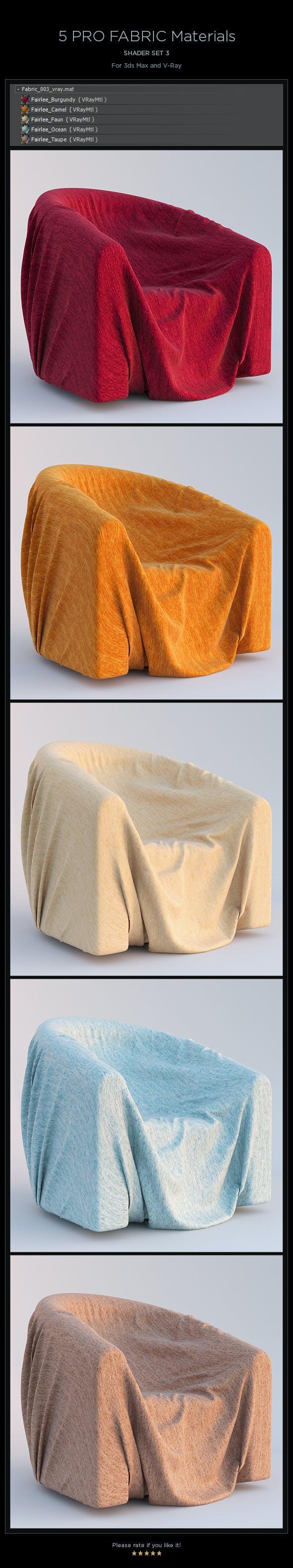 5 Pro Fabric Materials - set 3 - 3DOcean Item for Sale