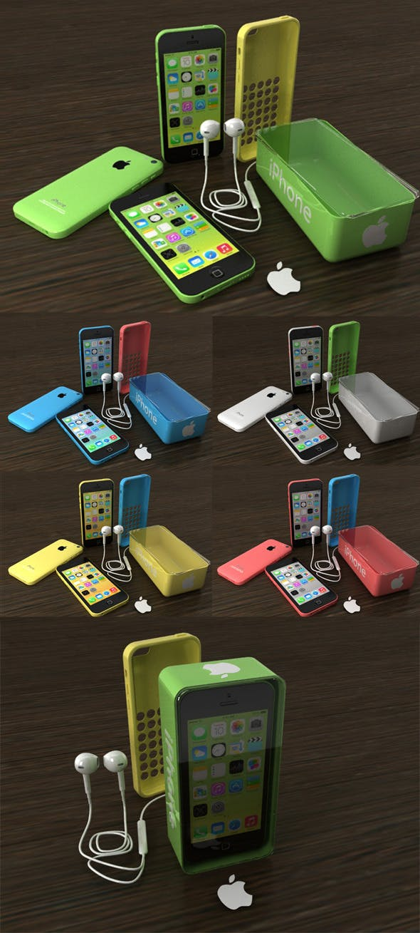 IPhone 5C All Color and Accesories - 3DOcean Item for Sale