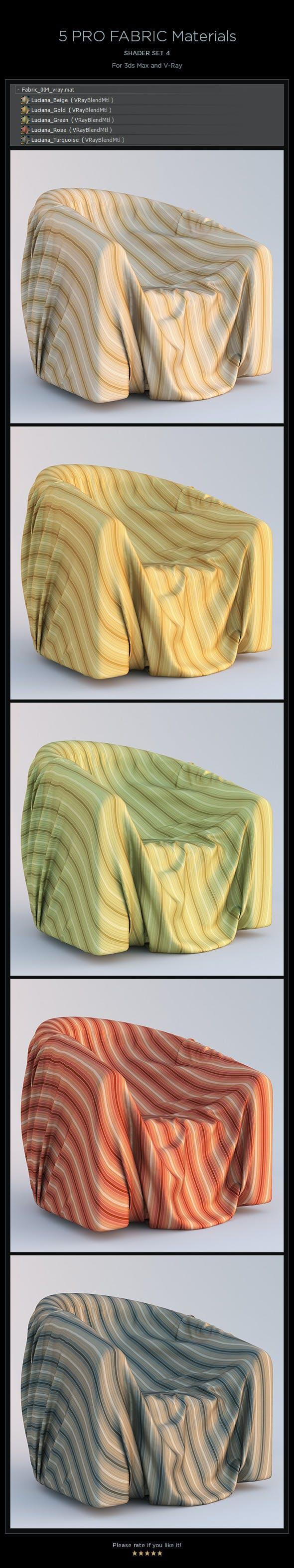 5 Pro Fabric Materials - set 4 - 3DOcean Item for Sale