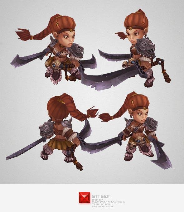Low Poly Mini Barbarian Girl Sonya - 3DOcean Item for Sale