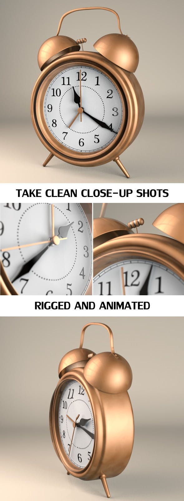 Rigged and Animated Vintage Alarm Clock - 3DOcean Item for Sale