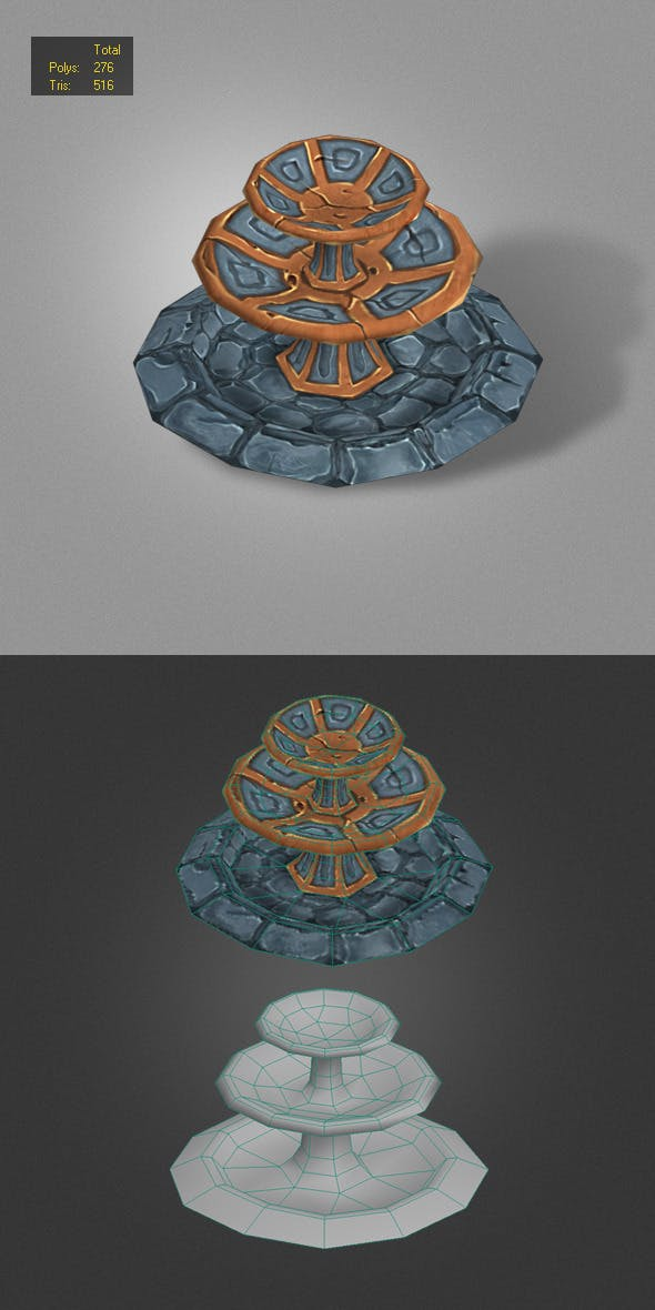fountain low poly - 3DOcean Item for Sale