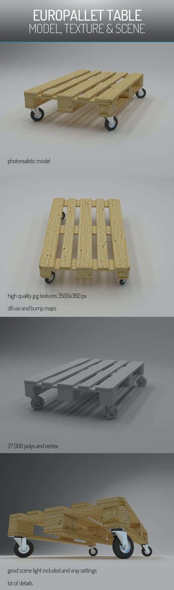 EuroPallet Table - 3DOcean Item for Sale
