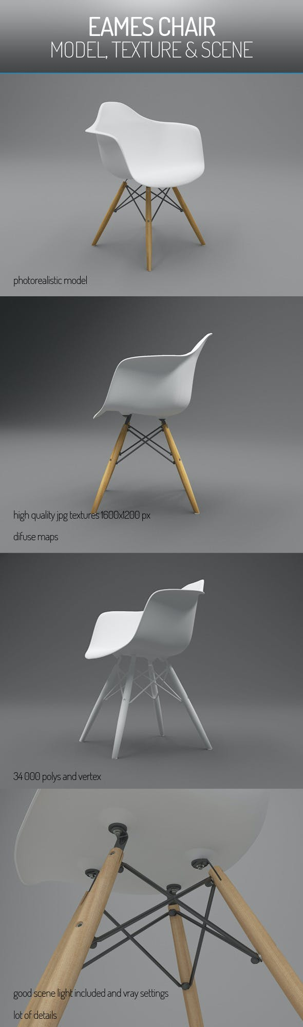 Eames Vitra Chair  - 3DOcean Item for Sale