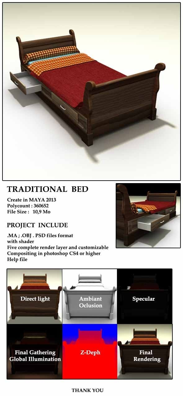 Traditional Bed - 3DOcean Item for Sale