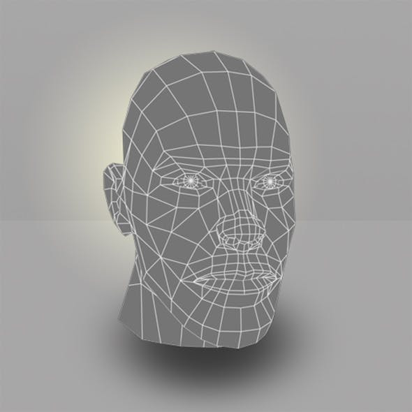 Human Male Head Low Poly