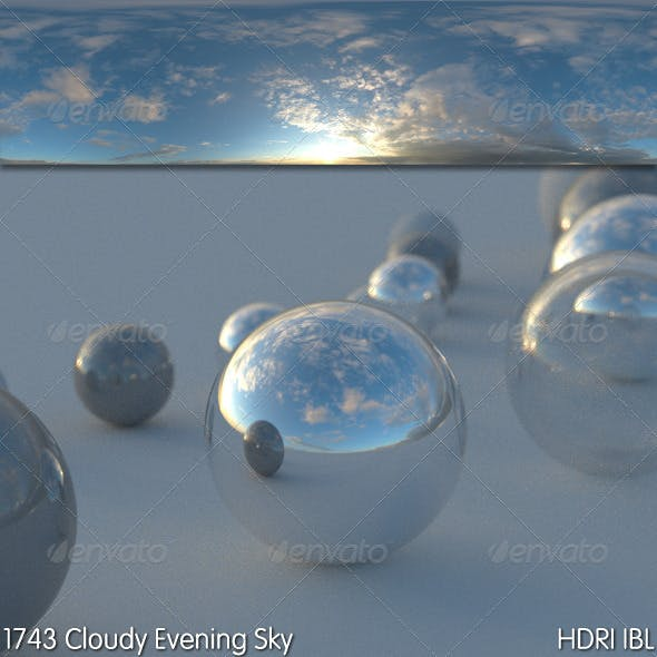 HDRI IBL 1743 Cloudy Evening Sky