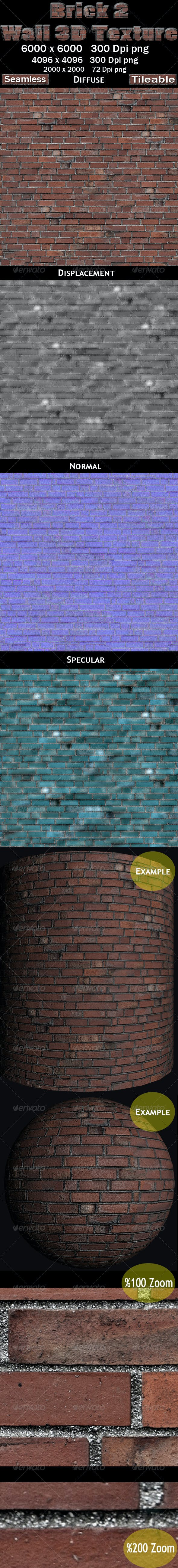 Brick Wall 2 3D Texture - 3DOcean Item for Sale