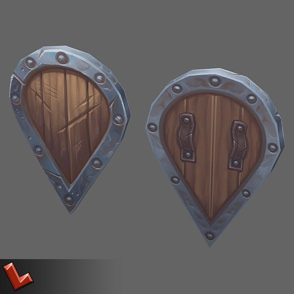 Low poly hand painted shield [Militia 02]
