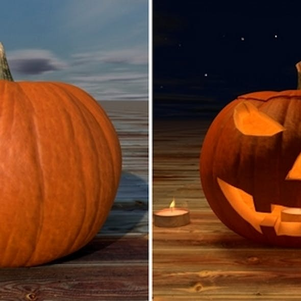 Realistic Pumpkin and Pumpkihead with Tealight
