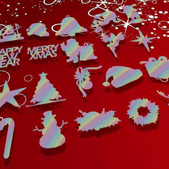 20 Pack of 3D Christmas Shapes
