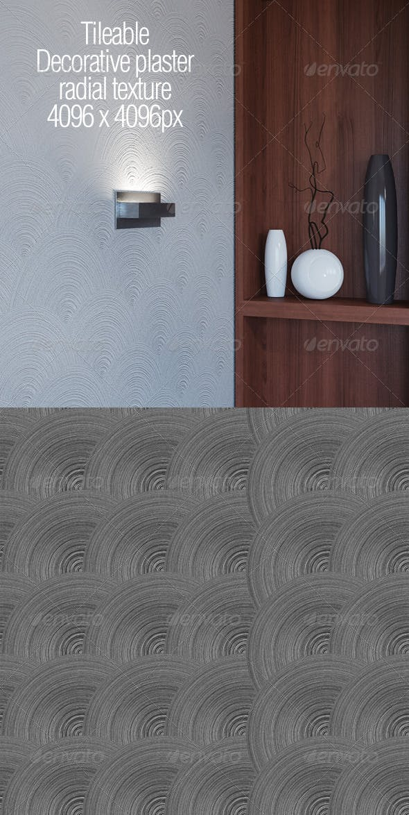 Tileable decorative plaster radial texture - 3DOcean Item for Sale