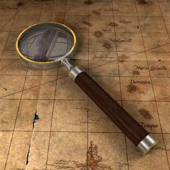 Antique Magnifying Glass & Pirate Map - 3DOcean Item for Sale