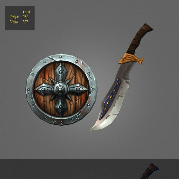 Low poly painted shield and Weapon
