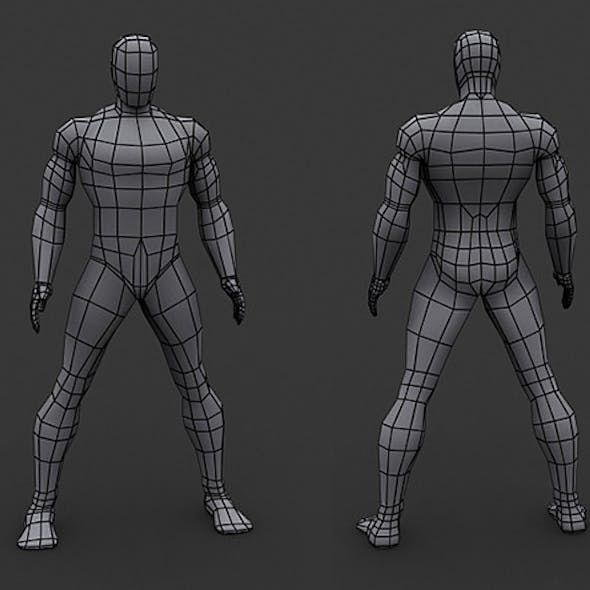 Human Comics Male - Low Poly Base Mesh