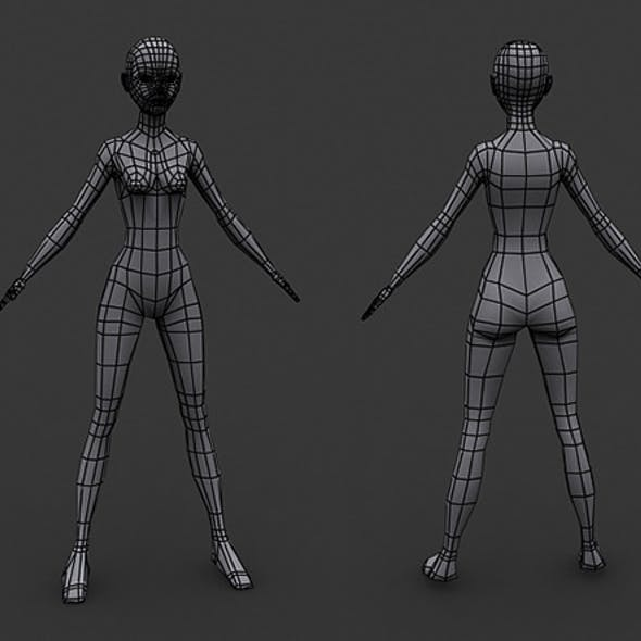 Human Manga Female Base Mesh - Low Poly