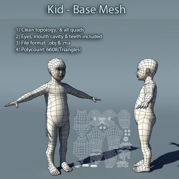 Kid Low Poly Base Mesh - 3DOcean Item for Sale