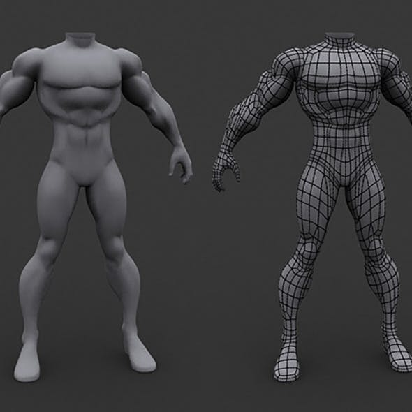 Human Athletic Male Body Base Mesh