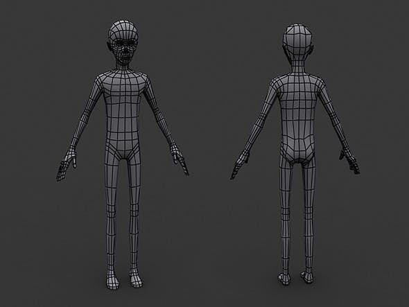 Human Manga Male Base Mesh - Low Poly - 3DOcean Item for Sale