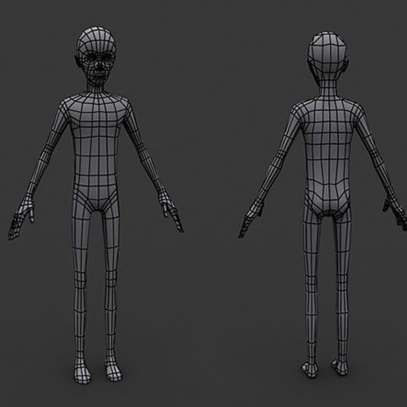 Human Manga Male Base Mesh - Low Poly