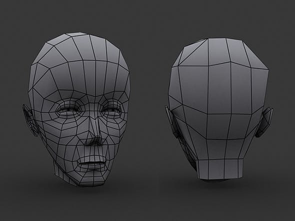 Human Manga Male Head Base Mesh - Low Poly - 3DOcean Item for Sale