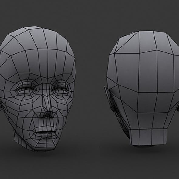 Human Manga Male Head Base Mesh - Low Poly