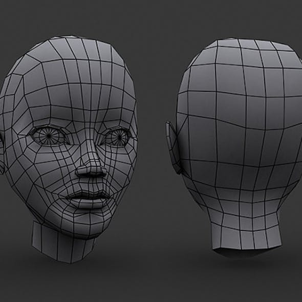 Human Manga Female Head Base Mesh - Low Poly